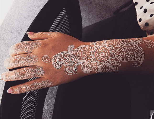 af546da9d33f7 White henna style tattoos are the latest trend in temporary body art ...