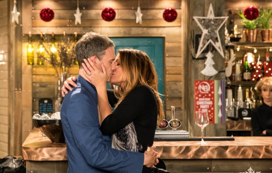 FROM ITV STRICT EMBARGO - No Use Before Tuesday 24 November 2015 Coronation Street - Ep 8787 Friday 4 December  2015 - 2nd ep  In front of both families Nick Tilsley [BEN PRICE] produces and engagement ring and getting down on one knee, places it on Carla Connor's [ALISON KING] finger.  Picture contact: david.crook@itv.com on 0161 952 6214 Photographer - Joseph Scanlon This photograph is (C) ITV Plc and can only be reproduced for editorial purposes directly in connection with the programme or event mentioned above, or ITV plc. Once made available by ITV plc Picture Desk, this photograph can be reproduced once only up until the transmission [TX] date and no reproduction fee will be charged. Any subsequent usage may incur a fee. This photograph must not be manipulated [excluding basic cropping] in a manner which alters the visual appearance of the person photographed deemed detrimental or inappropriate by ITV plc Picture Desk. This photograph must not be syndicated to any other company, publication or website, or permanently archived, without the express written permission of ITV Plc Picture Desk. Full Terms and conditions are available on the website www.itvpictures.com
