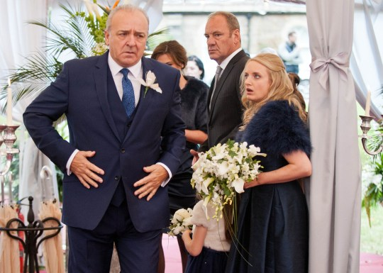 FROM ITV STRICT EMBARGO - No Use Before Tuesday 17 November 2015 Emmerdale - Ep 735253 Tuesday 24 November 2015 Everyone waits in the marquee for the wedding and Lawrence White [JOHN BOWE] is about to tell everyone it is off when Bernice Thomas [SAMANTHA GILES] interrupts him, but to say what? Meanwhile, Andy Sugden [KELVIN FLETHCHER] waits outside the venue, bracing himself to go in and stop the wedding. Will it go ahead? Picture contact: david.crook@itv.com on 0161 952 6214 Photographer - Amy Brammall This photograph is (C) ITV Plc and can only be reproduced for editorial purposes directly in connection with the programme or event mentioned above, or ITV plc. Once made available by ITV plc Picture Desk, this photograph can be reproduced once only up until the transmission [TX] date and no reproduction fee will be charged. Any subsequent usage may incur a fee. This photograph must not be manipulated [excluding basic cropping] in a manner which alters the visual appearance of the person photographed deemed detrimental or inappropriate by ITV plc Picture Desk. This photograph must not be syndicated to any other company, publication or website, or permanently archived, without the express written permission of ITV Plc Picture Desk. Full Terms and conditions are available on the website www.itvpictures.com