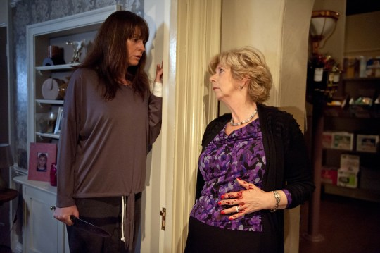 FROM ITV STRICT EMBARGO - No Use Before Tuesday 17 November 2015 Emmerdale - Ep 7354 Wednesday 25 November 2015 Chas Dingle [LUCY PARGETTER] awakes with a start and heads downstairs with the knife. Diane Sugden [ELIZABETH ESTENESEN] walks round the corner, straight into Chas who lunges at her in the dark. Chas is horrified to see Diane unconscious bleeding from a serious wound to her stomach. Picture contact: david.crook@itv.com on 0161 952 6214 Photographer - Amy Brammall This photograph is (C) ITV Plc and can only be reproduced for editorial purposes directly in connection with the programme or event mentioned above, or ITV plc. Once made available by ITV plc Picture Desk, this photograph can be reproduced once only up until the transmission [TX] date and no reproduction fee will be charged. Any subsequent usage may incur a fee. This photograph must not be manipulated [excluding basic cropping] in a manner which alters the visual appearance of the person photographed deemed detrimental or inappropriate by ITV plc Picture Desk. This photograph must not be syndicated to any other company, publication or website, or permanently archived, without the express written permission of ITV Plc Picture Desk. Full Terms and conditions are available on the website www.itvpictures.com