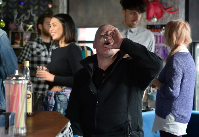 WARNING: Embargoed for publication until 00:00:01 on 17/11/2015 - Programme Name: EastEnders - TX: 24/11/2015 - Episode: 5178 (No. n/a) - Picture Shows: Phil is on self destruct as he drinks whisky. Phil Mitchell (STEVE MCFADDEN) - (C) BBC - Photographer: Kieron McCarron