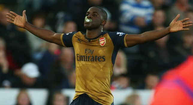 SWANSEA, WALES - OCTOBER 31: Joel Campbell of Arsenal celebrates scoring his team's third goal during the Barclays Premier League match between Swansea City and Arsenal at Liberty Stadium on October 31, 2015 in Swansea, Wales. (Photo by Ben Hoskins/Getty Images)