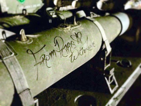 Photos of US Hellfire missiles scrawled with From Paris With Love are probably fakes