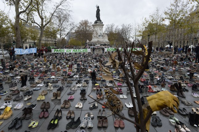 The Place de la Republique is covered in hundreds of pairs of shoes (Picture: AFP/Getty Images)