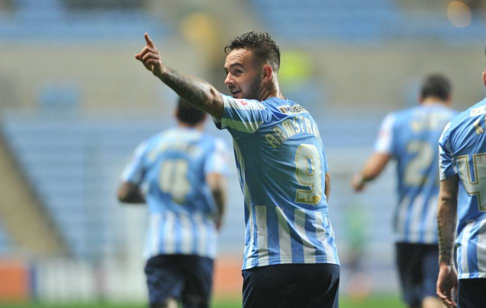 Editorial use only. No merchandising. For Football images FA and Premier League restrictions apply inc. no internet/mobile usage without FAPL license - for details contact Football Dataco Mandatory Credit: Photo by Keith Turner/REX Shutterstock (5339836h) Coventry's Adam Armstrong celebrates his 2nd goal of the night. Coventry City v Barnsley, Sky Bet League One, Football, Ricoh Arena, Coventry, Britain - 03 Nov 2015