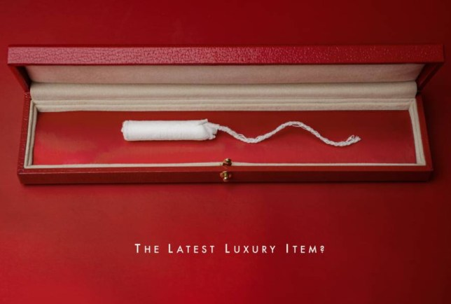 Mandatory Credit: Photo by Guy Bell/REX Shutterstock (5346817c) One of the spoof ads Creative advertising team create campaign mocking 'tampon tax', Britain - Nov 2015 A creative advertising duo have created a tongue-in-cheek campaign as a way to mock the so-called 'tampon tax'. Recently a motion to remove the tax currently levied on women's sanitary products was defeated in the House of Commons. The tax means women pay a five per cent VAT levy on these items, which are classified as 'non-essential luxury items' by the European Union (EU). The vote came after an online petition 'Stop taxing periods. Period' attracted more than 250,000 signatures. Frustrated after reading about the 'tampon tax' row creative advertising team Sali Horsey and Zoe Nash wanted to do something to demonstrate how ridiculous it is. So they created a spoof ad campaign mocking the idea that tampons are luxury items. This campaign sees tampons displayed in the same way that luxury items might be - including jewellery and make-up - along with the tagline 'the latest luxury item?'