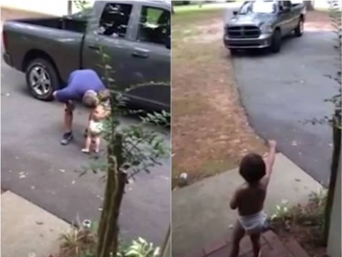 Toddler spends almost three minutes shouting I LOVE YOU DADDY when his dad leaves for work