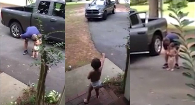 Three way grab from video of toddler saying goodbye to his dad. Taken from Mail Online http://www.dailymail.co.uk/femail/article-3304894/Toddler-spends-three-minutes-telling-dad-loves-tries-leave-house.html