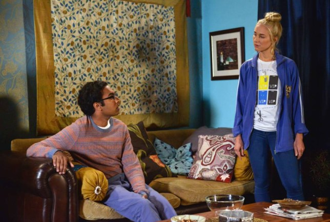WARNING: Embargoed for publication until 00:00:01 on 10/11/2015 - Programme Name: EastEnders - TX: 16/11/2015 - Episode: 5173 (No. n/a) - Picture Shows: Tamwar talks to Nancy about his beliefs. Tamwar Masood (HIMESH PATEL), Nancy Carter (MADDY HILL) - (C) BBC - Photographer: Kieron McCarron