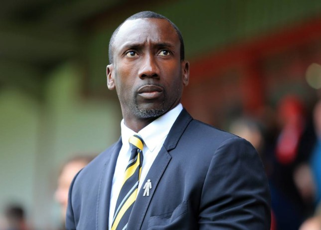 WALSALL, ENGLAND - OCTOBER 10: Jimmy Floyd Hasselbaink the head coach / manager of Burton Albion during the Sky Bet League One match between Walsall and Burton Albion at Bescot Stadium on October 10, 2015 in Walsall, England. (Photo by James Baylis - AMA/Getty Images)