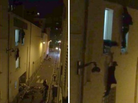 Pregnant woman dangling from window during Paris attacks and her hero are both safe