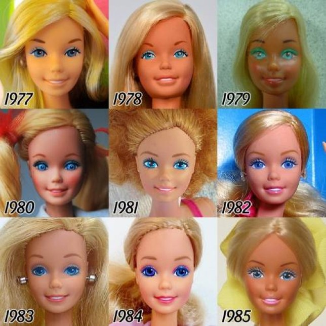 The incredible transformation of Barbie over 56 years Link: http://tenaflyviper.tumblr.com/post/125639467465/i-was-curious-as-to-exactly-how-barbies-face-has#