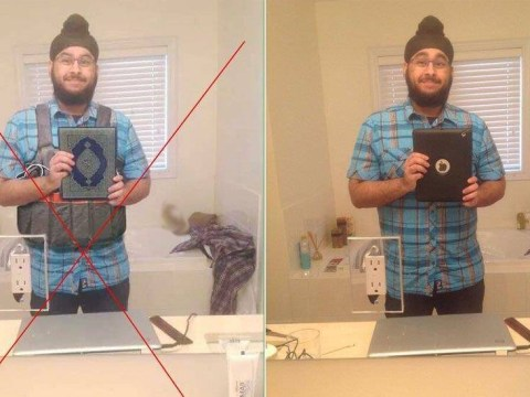 Someone photoshopped a Sikh guy's selfie to make him look like a Paris bomber