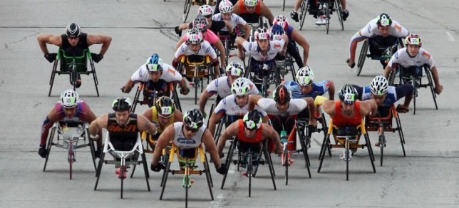 CHICAGO, IL - OCTOBER 09: Wheelchair racers participate in the Bank of America Chicago Marathon on October 9, 2011 in Chicago, Illinois. (Photo by Tasos Katopodis/Getty Images)