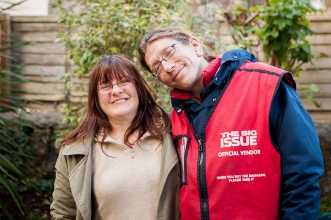 Big Issue seller Jack Richardson with Toni Robinson at home in Bristol. They fell in love after Jack asked her for money whilst working. 22 November 2015. See SWNS story SWTRAMP; One of Bristol's best known Big Issue sellers is getting married to a woman he first met when he asked her for money while begging. But when Jack Richardson asked Toni Robinson for money almost two years ago, she apologised saying that she had none. Jack ended up giving Toni 50p so she could feed her electricity meter enabling her not to have to spend Christmas 2013 in the dark. Over the next year, Toni often used to pass Jack's Big Issue pitch outside Boston Tea Party on Park Street and they became firm friends. When Jackís squat in a garage near the Victoria Rooms in Clifton got boarded up and he had nowhere else to go, Toni offered to put him up for a couple of months.