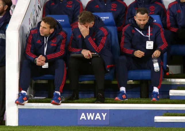 """Manchester United manager Louis van Gaal (centre), Assistant manager Ryan Giggs (right) and assistant Albert Stuivenberg (left) during the Barclays Premier League match at the King Power Stadium, Leicester. PRESS ASSOCIATION Photo. Picture date: Saturday November 28, 2015. See PA story SOCCER Leicester. Photo credit should read: Mike Egerton/PA Wire. RESTRICTIONS: EDITORIAL USE ONLY No use with unauthorised audio, video, data, fixture lists, club/league logos or """"live"""" services. Online in-match use limited to 75 images, no video emulation. No use in betting, games or single club/league/player publications."""