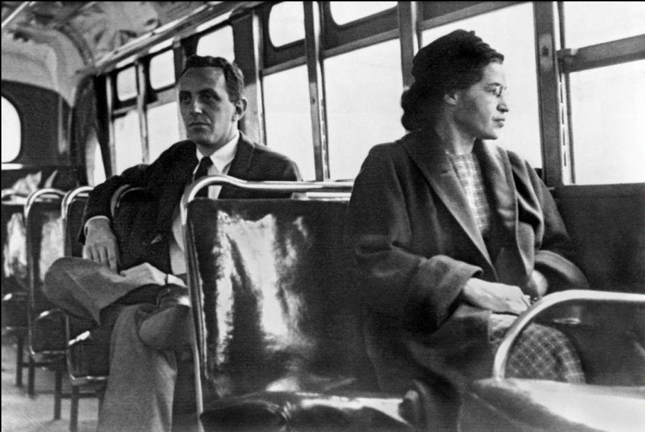 Mandatory Credit: Photo by Underwood Archives/UIG/REX Shutterstock (3838126a).. Montgomery, Alabama: 1956. Rosa Parks seated toward the front of the bus in Montgomery, Alabama... VARIOUS.. ..