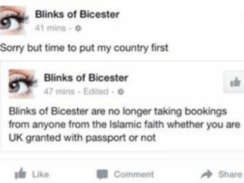Beauty salon owner arrested for 'banning Muslims' in racist Facebook post