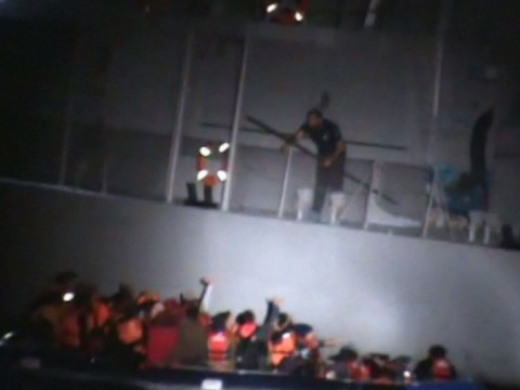 Video shows Greek coast guard 'deliberately sinking lifeboat full of refugees'