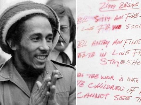 Lyrics handwritten by Bob Marley set to fetch £10,000 at auction