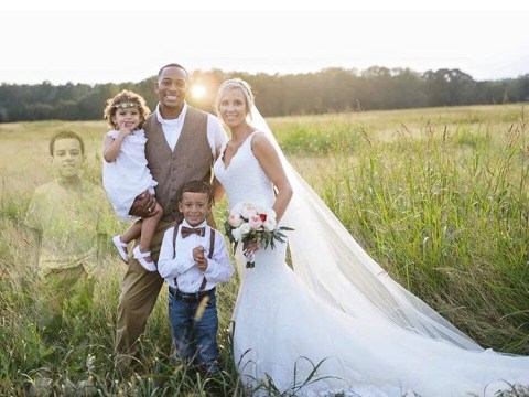 Couple make their dead son a part of their wedding with specially enhanced family photo