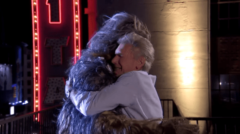 Chewbacca and Harrison Ford share an emotional reunion in hilarious Star Wars skit