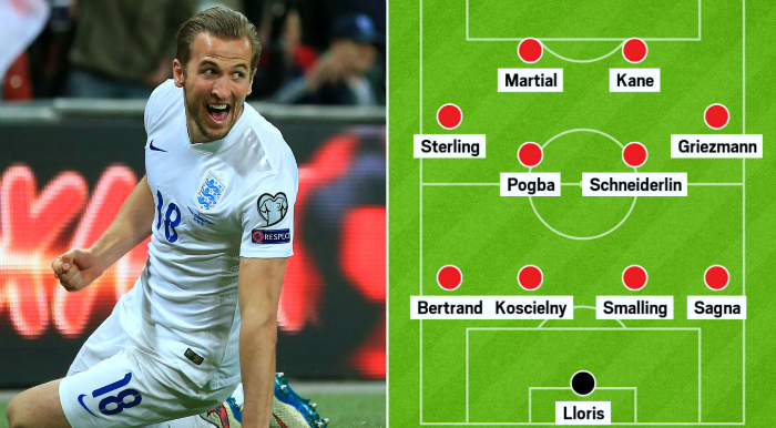 England vs France combined XI: Tottenham's Harry Kane up front with Manchester United's Anthony Martial