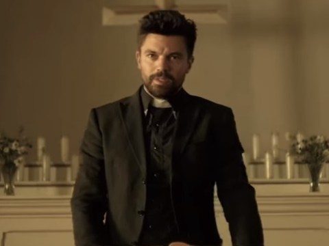 There's freaky stuff going on in the first trailer for Seth Rogen's Preacher