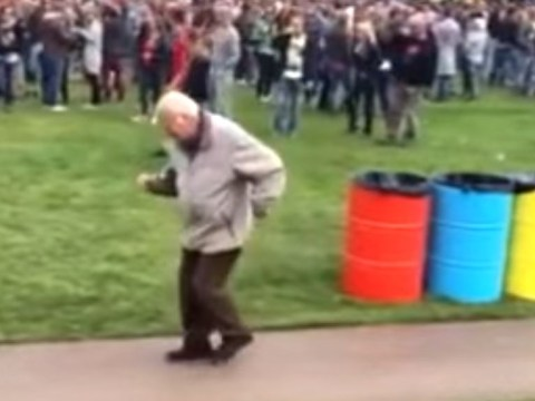 This video of an old man doing a solo salsa at an electronic dance festival is superb