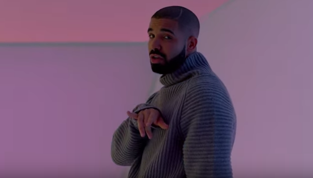 drake wearing a cosy jumper in Hotline Bling