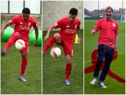 Jurgen Klopp hilariously fails in skills video with Liverpool stars Emre Can, Jordon Ibe and Phillippe Coutinho
