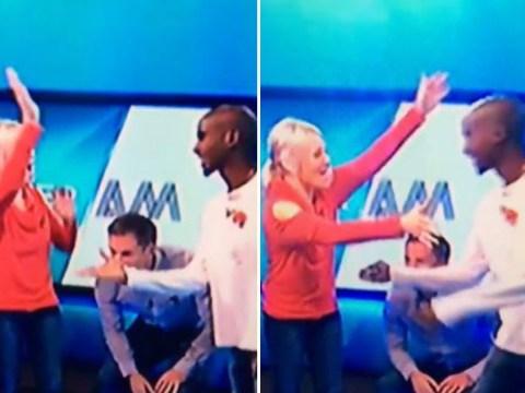 Mo Farah and Helen Chamberlain suffer awkward high-five fail on Soccer AM