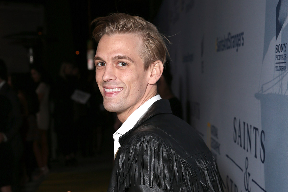 """BEVERLY HILLS, CA - NOVEMBER 09: Aaron Carter attends National Geographic Channel's """"Saints & Strangers"""" World Premiere Event at Saban Theatre on November 9, 2015 in Beverly Hills, California. (Photo by Todd Williamson/Getty Images for National Geographic Channel)"""