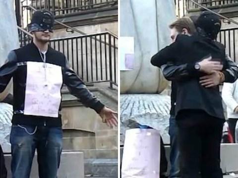 British Muslim teenager brings blindfolded hug exercise to the UK