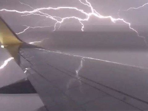 Man captures intense lightning strike as his plane comes in to land