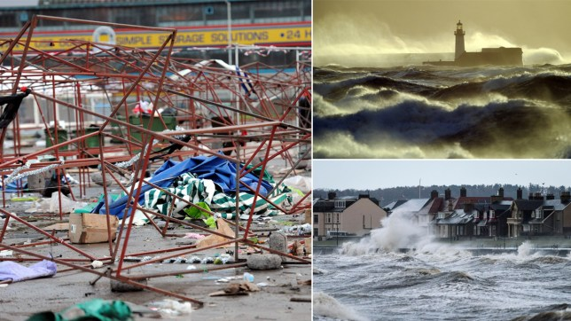 Dated: 29/11/2015 Workers clear away debris after the Team Valley Christmas Market in Gateshead was prematurely ended this afternoon by gale force winds as Storm Clodagh battered the North of England. See weather round-up