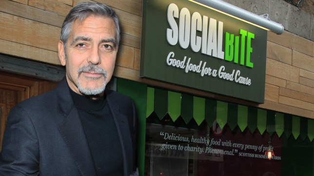 George Clooney visits Social Bite a charitable organisation to help the homeless. This is George's first visit to Scotland since 1995. Featuring: Social Bite Cafe Where: Edinburgh, United Kingdom When: 12 Nov 2015 Credit: WENN.com