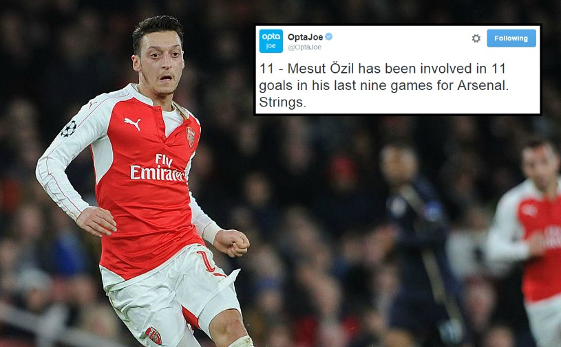 Stats show Mesut Ozil is actually carrying Arsenal at the moment