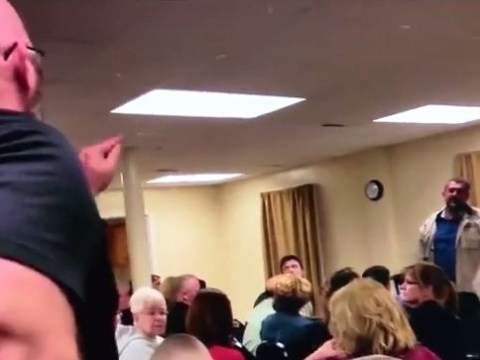 Man shouts 'all Muslims are terrorists' towards Muslim speaker at town hall meeting