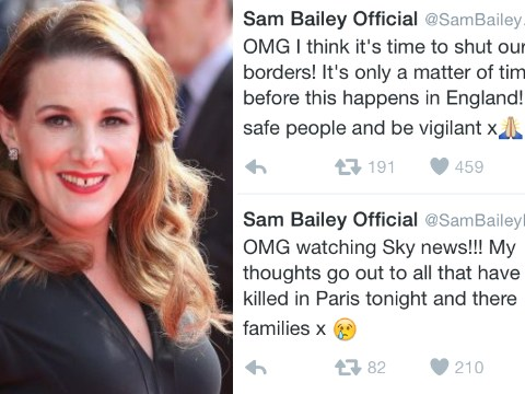 X Factor's Sam Bailey causes outrage after tweeting 'it's time to shut our borders' during Paris attacks