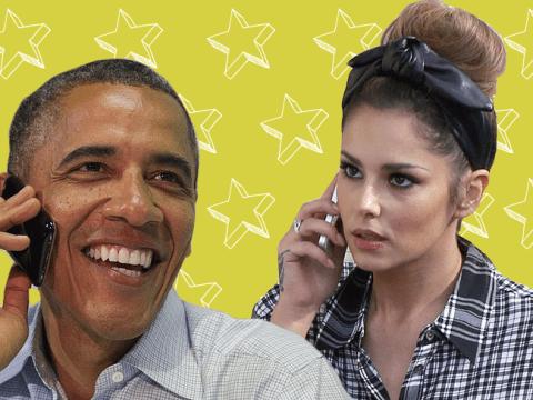 Cheryl Fernandez-Versini posts sassy pic of Obama on the phone in the wake of bathroom pic storm