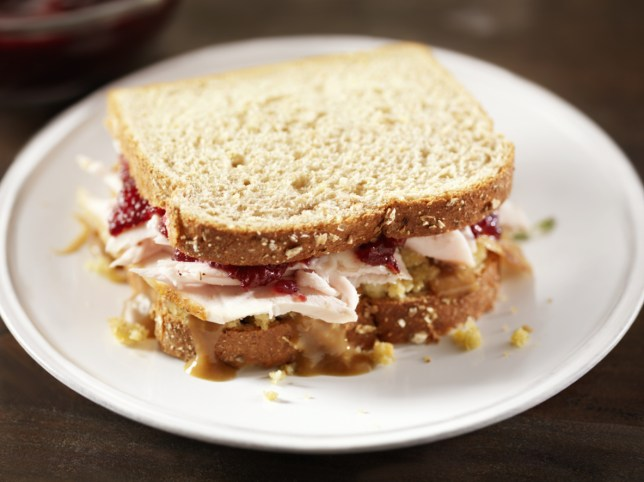 Turkey Sandwich with Stuffing and Cranberries