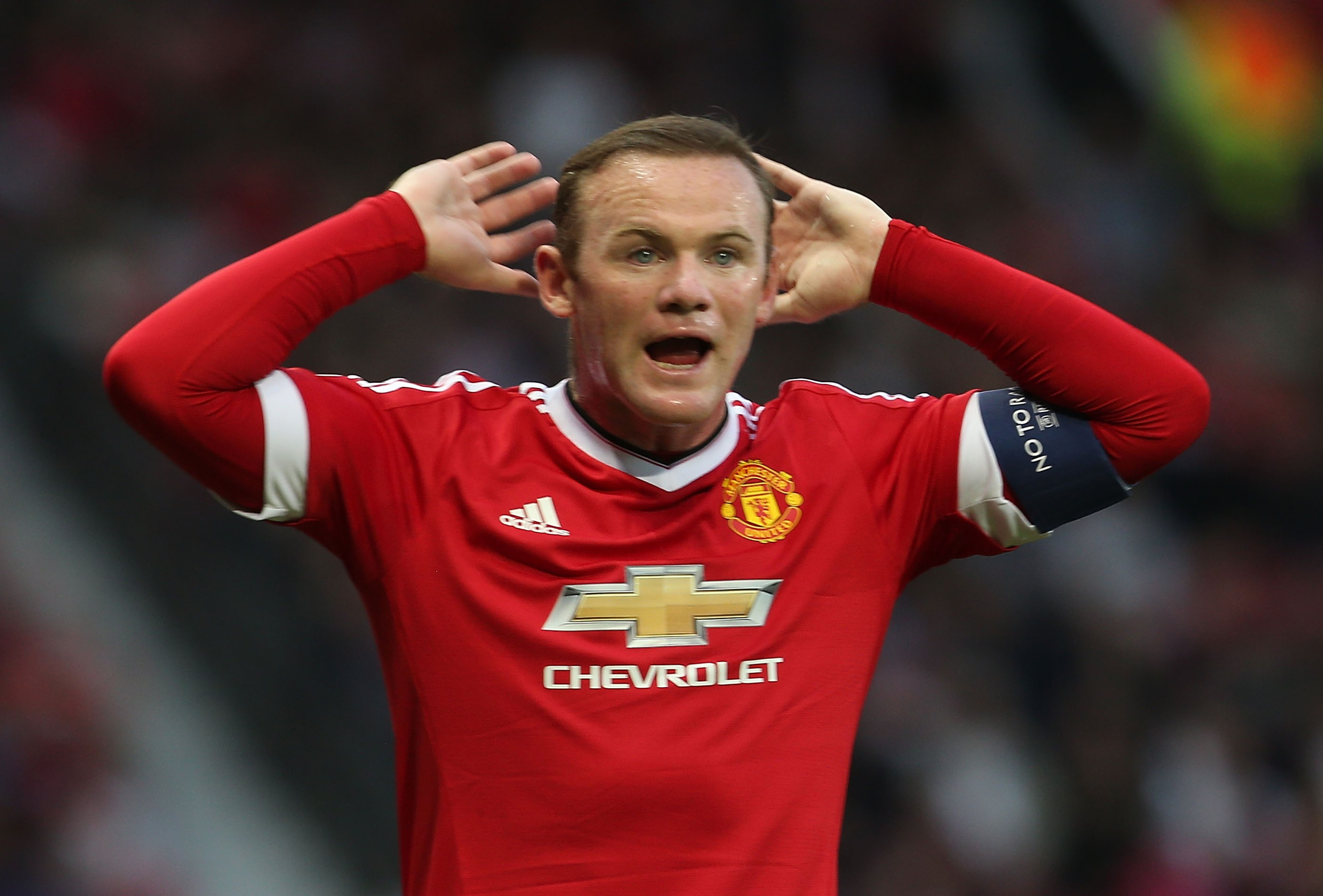 MANCHESTER, ENGLAND - AUGUST 18: Wayne Rooney of Manchester United in action during the UEFA Champions League play-off first leg match between Manchester United and Club Brugge at Old Trafford on August 18, 2015 in Manchester, England. (Photo by Matthew Peters/Man Utd via Getty Images)