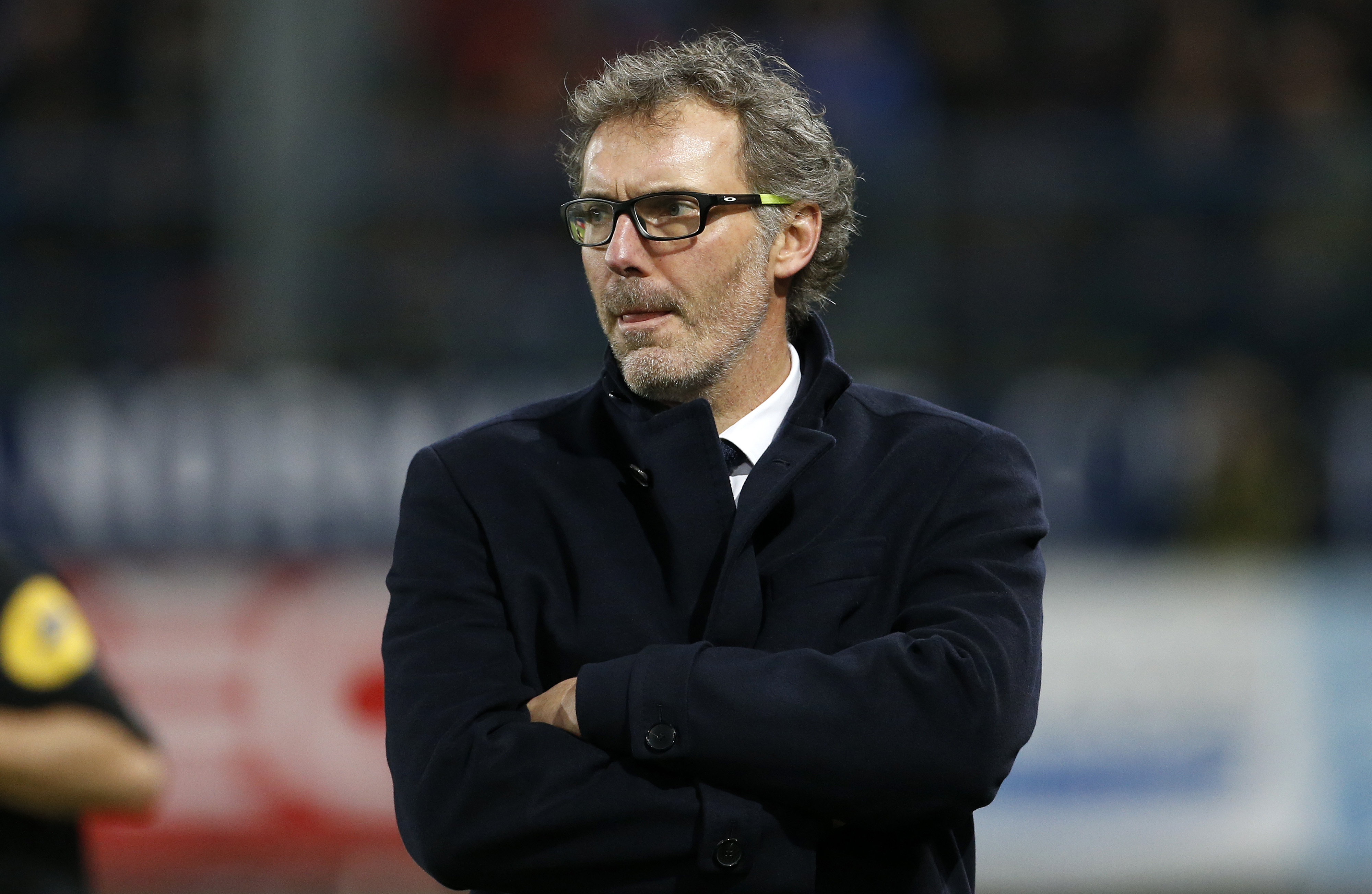 CAEN, FRANCE - DECEMBER 19: Coach of PSG Laurent Blanc looks on during the French Ligue 1 match between Stade Malherbe de Caen and Paris Saint-Germain (PSG) at Stade Michel D'Ornano on December 19, 2015 in Caen, France. (Photo by Jean Catuffe/Getty Images)