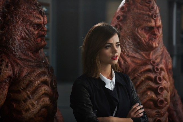 WARNING: Embargoed for publication until 00:00:01 on 03/11/2015 - Programme Name: Doctor Who - TX: 07/11/2015 - Episode: INVERSION OF THE ZYGONS (By Peter Harness and Steven Moffat) (No. 8) - Picture Shows: ***EMBARGOED UNTIL 3rd NOV 2015*** zygons, Clara (JENNA COLEMAN) - (C) BBC - Photographer: Simon Ridgway