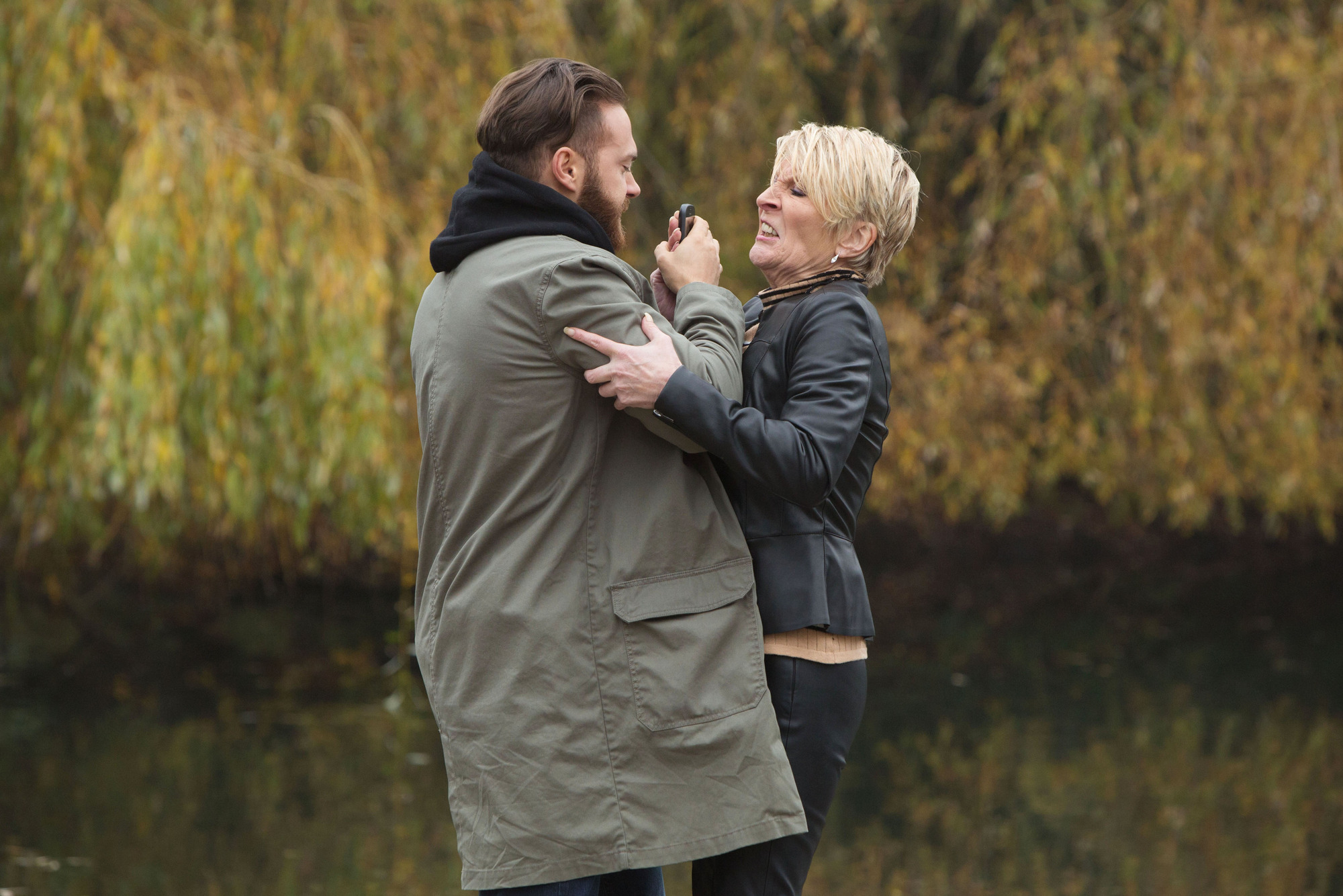 WARNING: Embargoed for publication until 00:00:01 on 05/12/2015 - Programme Name: EastEnders - TX: 29/12/2015 - Episode: 5202 (No. n/a) - Picture Shows: Shirley begs Dean not to spoil Mick and Linda's big day. Shirley Carter (LINDA HENRY), Dean Wicks (MATT DI ANGELO) - (C) BBC - Photographer: Jack Barnes
