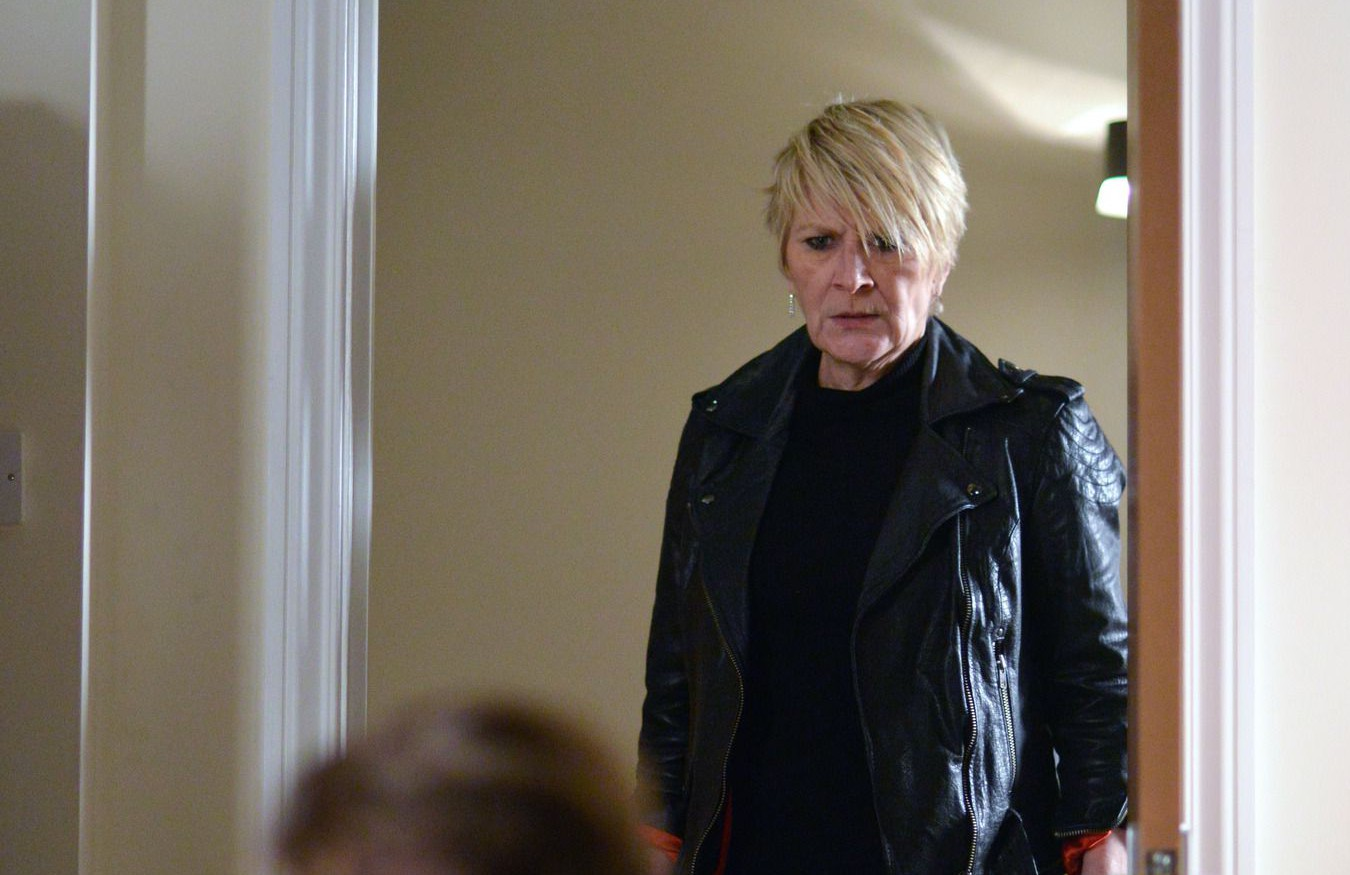 WARNING: Embargoed for publication until 00:00:01 on 15/12/2015 - Programme Name: EastEnders - TX: 28/12/2015 - Episode: 5200 (No. n/a) - Picture Shows: Shirley catches Dean attacking Roxy. Shirley Carter (LINDA HENRY), Roxy Mitchell (RITA SIMONS), Dean Wicks (MATT DI ANGELO) - (C) BBC - Photographer: Kieron McCarron