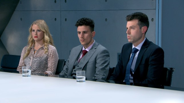 WARNING: Embargoed for publication until 22:00:01 on 02/12/2015 - Programme Name: The Apprentice 2015 - TX: 02/12/2015 - Episode: The Apprentice 2015 (No. Ep 9) - Picture Shows: **STRICTLY NOT FOR PUBLICATION UNTIL 22:01 HRS, WEDNESDAY 2ND DECEMBER, 2015** Selina Waterman-Smith, Joseph Valente, Gary Poulton - (C) Boundless - Photographer: Screen Grabs