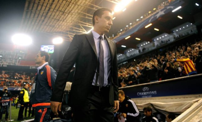 VALENCIA, SPAIN - DECEMBER 09: Gary Neville manager of Valencia looks on from the bench prior to the UEFA Champions League Group H match between Valencia CF and Olympique Lyonnais at Estadio Mestalla on December 9, 2015 in Valencia, Spain. (Photo by Alex Caparros/Getty Images)