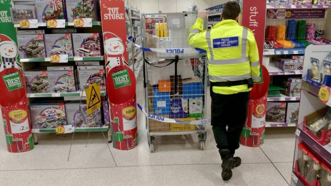 Scene picture at the Harpurhey Wilko store in Manchester where a man has been stabbed in the head with a pitchfork. See Ross Parry copy RPYSTAB : A man has been stabbed in the face at a Wilko's store with a garden fork. The man was wounded while rowing with another customer at the store in Harpurhey, Gtr Mancs., at around 12noon today (Thu). He was taken to hospital for treatment but his injuries are not thought to be life-threatening. A man has been arrested on suspicion of assault.